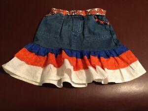Size 6 girls up cycled denim skirt, trimmed in blue & orange for football season