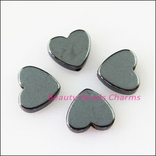 12Pcs Smooth Heart Flat Black Hematite Gemstone Spacer Beads Charms 10mm