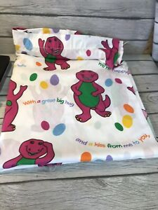 "Barney the Dinosaur Flat Bed Sheet Twin ""I Love You"" Vintage 1992 E1"