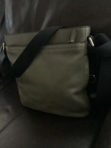 Coach F71745 Olive Green Leather Tech Crossbody Messenger Bag