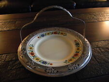 Golden Maine Plate With Chrome Ring & Handle By Sebring Ohio Pottery/Farberiane