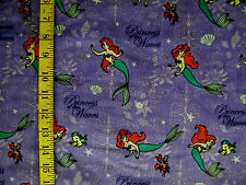 Disney Mermaid Princess Of Waves 100% Cotton Corduroy Fabric 25X42 Inches
