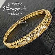 18K Yellow GOLD GF Womens Filigree BANGLE Bracelet with SWAROVSKI CRYSTAL EX475