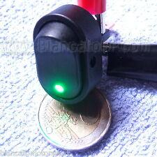 INTERRUTTORE A BILANCIERE con LED VERDE 12V 30A DC [ switch camper auto moto ]