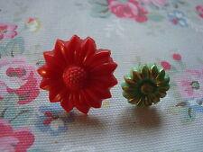 2 Vintage Red & Green  Flower  Push Pins~Bulletin Board/Craft Room/Office