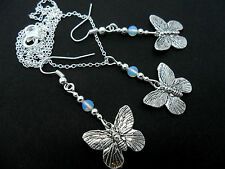 A TIBETAN SILVER BUTTERFLY/OPALITE BEAD NECKLACE AND EARRING SET. NEW.