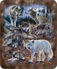 Queen Wolf Wolves Collage Pack Leader Art Mink Faux Fur Blanket Warm Soft Full