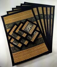 BLACK SET6 GIFT ELEPHANT REED SILK PLACEMATS COASTERS TABLE DINING THAI HANDMADE
