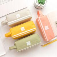 NE_ Canvas Zip Double Layers Pencil Case Large Capacity Pen Bag Stationery