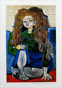 Pablo Picasso Woman Sitting On Pillows Limited Edition Giclee Signed 20x13