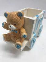 Lefton Teddy Bear Planter Cart 1986 Japan model 05599 Porcelain Signed Boy Baby