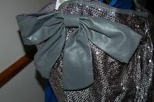 NEW Large Silver Sequin Shoulder Bag Pocket Faux Leather trim Work School tote