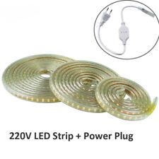 2835 SMD 220V LED strip Flexible light 1M-10M +EU Power plug 120LED/M waterproof