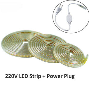 2835 SMD 220V LED strip Flexible light 1M-10M +EU Power plug 120LED/M waterproof