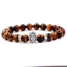 10x Tiger Eye Stone Black Matte Agate Lion Head Bracelet Mens Bracelet 8mm Bea