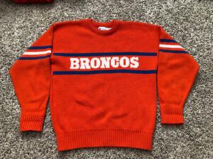 Vintage Denver Broncos Cliff Engle Sweater NFL Blue & Orange Men's M Made In USA
