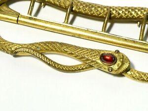 Antique Gilt Metal SNAKE Shaped Buckle Red GARNET on Head #T55A