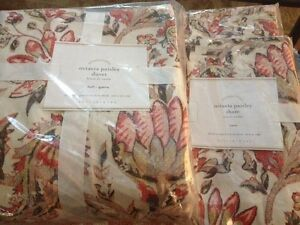 Pottery Barn Octavia Floral Duvet Set Full Queen W/2 Euro Shams Red Warm NWT