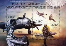 Amelia Earhart & LOCKHEED ELECTRA model avion 10E Timbre de feuille (2012 Burundi)