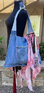 Levi's Upcycled Patchwork Floral Fringe Messenger Shoulder Hobo Handbag Monica C