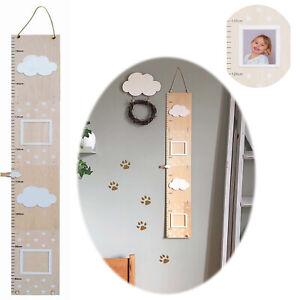 Design Holz Kinder Messlatte Messleiste Wolke Kinderzimmer 155cm 2 Bilderrahmen