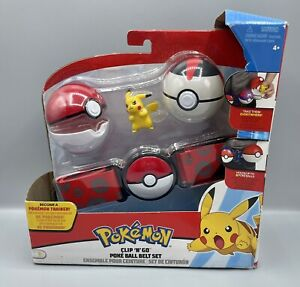 Pokemon Pikachu Clip 'N' Go Poke Ball Belt Set New Timerball
