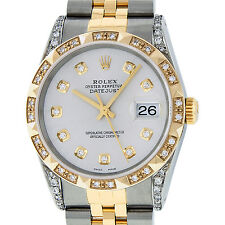 ROLEX DATEJUST MENS 16013 S/S AND 18K YELLOW GOLD SILVER PYRAMID DIAMOND WATCH