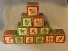"Disney Mickey Minnie Mouse Pluto Alphabet Vintage Wood Building 12 Blocks 1.25"""