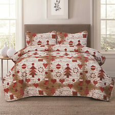 Twin, Full/Queen or King Vintage Christmas Holiday Quilt Bedding Set, Red Brown