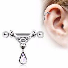 16G Celtic cartilage cuff shield piercing floral ear body jewelry Clear dangle