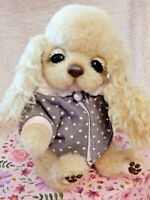 OOAK Dog Puppy Handmade Artist Cocker Spaniel Mohair Wool Toy Posable Brand New