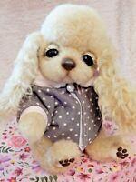 OOAK Dog Puppy Handmade Artist Cocker Spaniel Mohair Wool Toy Posable Brand New