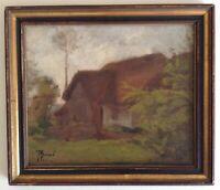 Tableau ancien Impressionniste  Paysage Normandie Chaumière Huile signée