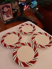 Longaberger Peppermint Twist Candy Cane Striped Christmas Coasters Set of 4