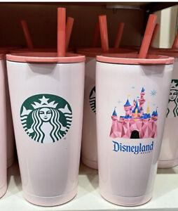 2021 Disney Parks Pink Starbucks Disneyland Tumbler Coffee Cup Mug Lid Straw New
