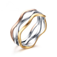 Trendy Size 6 to 9 Band Stainless Steel Women's MixColur Wedding Party Ring Gift