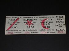 Rare Vintage 1969 WOODSTOCK ART & MUSIC FESTIVAL three day Concert Ticket