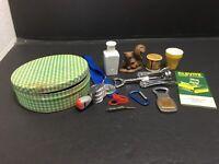 Vintage Juck Drawer 12 Items - Tin Vase Cap Opener Date Stamp Note Book Corker