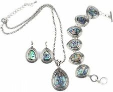 IPINK 3Pcs Water Drop Abalone Shell Turquoise Gemstone Necklace Earring
