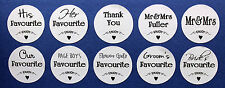 10x Personalised wedding table favour sweet bag stickers his & her favourite