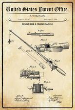 US Patent Angel Fishing Rod Tackle 1884 Blechschild Schild Tin Sign 20 x 30 cm