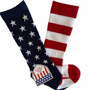 Patriotic Socks Women's Sz 8-12 Red White Stripes Blue Stars Unbranded