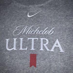 Vintage Nike Michelob Ultra Beer Crewneck Sweatshirt Size Large Gray 90s EUC