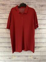 Men's NIKE Golf Dri-Fit Red Short Sleeve Polo Shirt  Size Xl