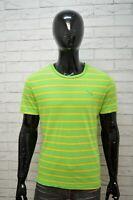 PUMA Polo Maglia Uomo Taglia M Maglietta T-Shirt Herrenhemd Cotone Verde A Righe