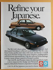 Magazine Print Ad 1986 Dodge Colt 4- Door Sedan