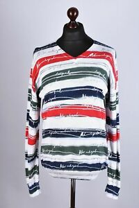 Desigual New and Good Striped V Neck Jumper Size XL