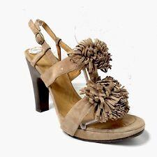 Chie Mihara Heels Sandal Suede Fringe Pom Pom Brown Beige 8 8.5 38.5
