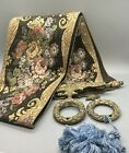 Vintage Corona Decor Co. Tapestry Wall Hanging Floral Ornate Bell Pull w Tassel