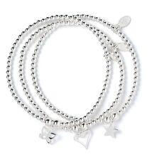Sterling Silver Ball Bead Bracelet Set of 3 Open Heart, Butterfly & Star Charms